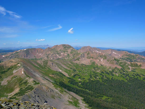 Looking west across Eccles Pass and South Willow Creek basin from Buffalo Mountain