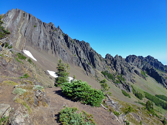 View of weathered volcanic and sedimentary formations along the Mount Angeles massif
